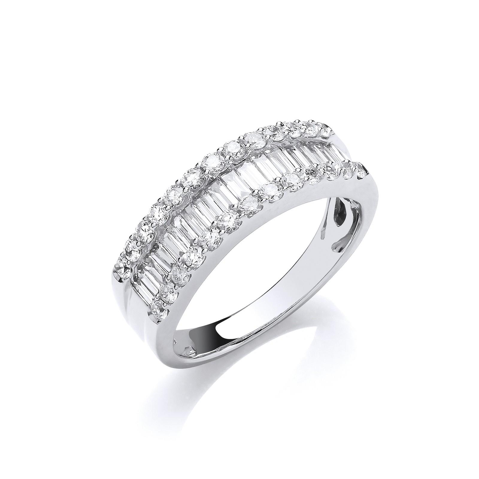 18ct White Gold 1.00ct Baguette & Brilliant Cut Diamond ET Ring