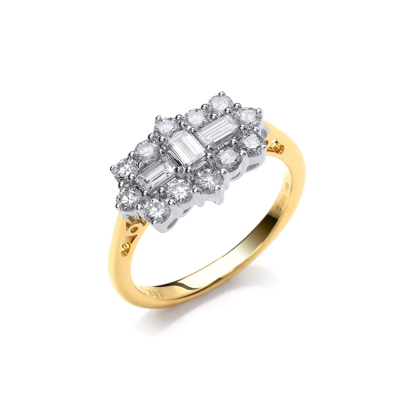 18ct Yellow Gold 1.00ctw Diamond Boat/Cluster Ring