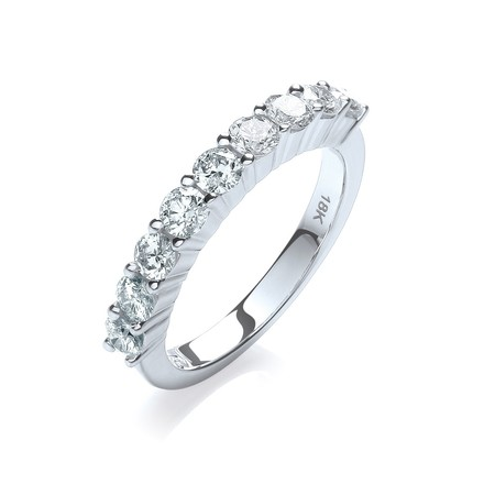 Selling: 18ct White Gold  1.00ctw Diamond Half Eternity Ring