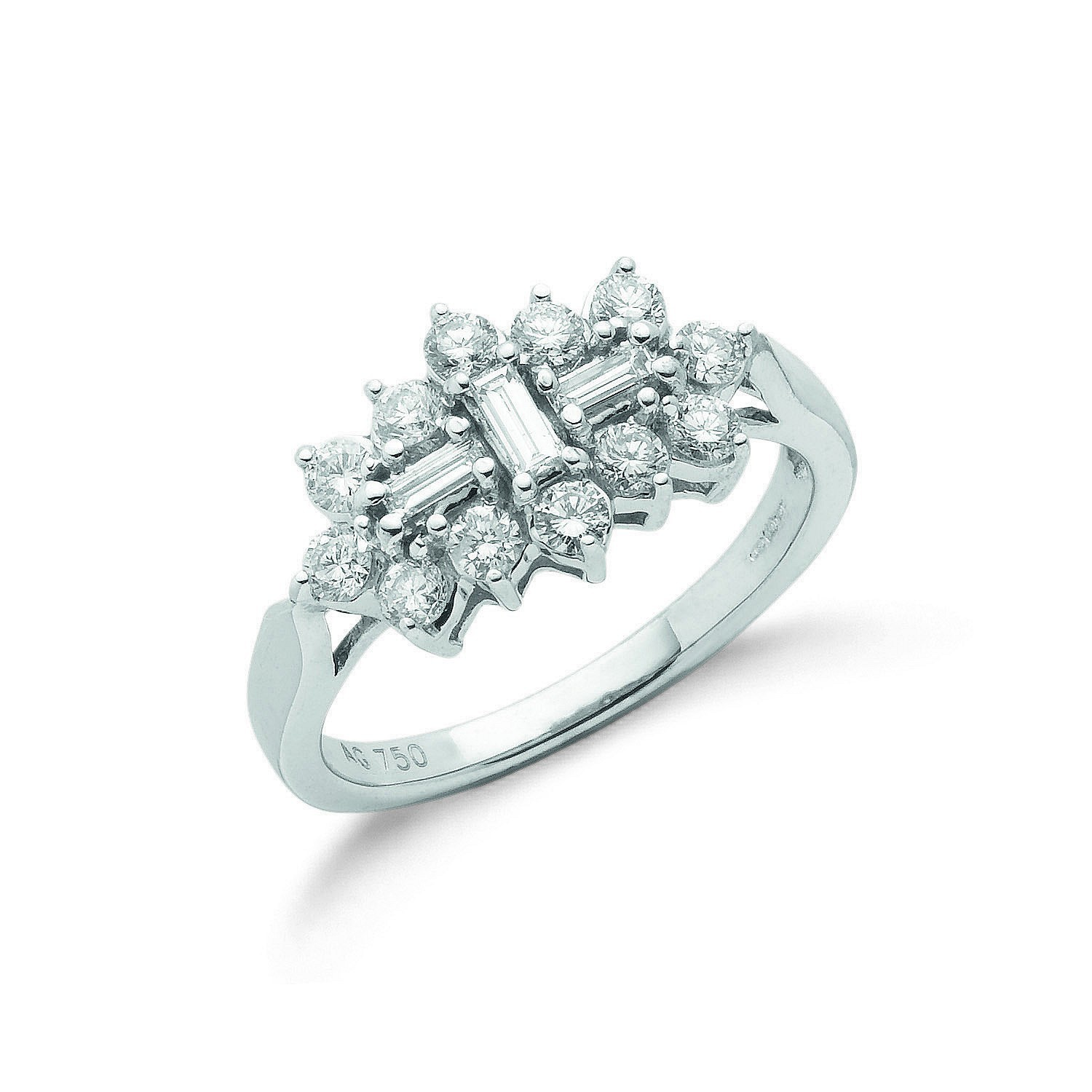 18ct White Gold D.1.00ctw Diamond Boat/Cluster Ring