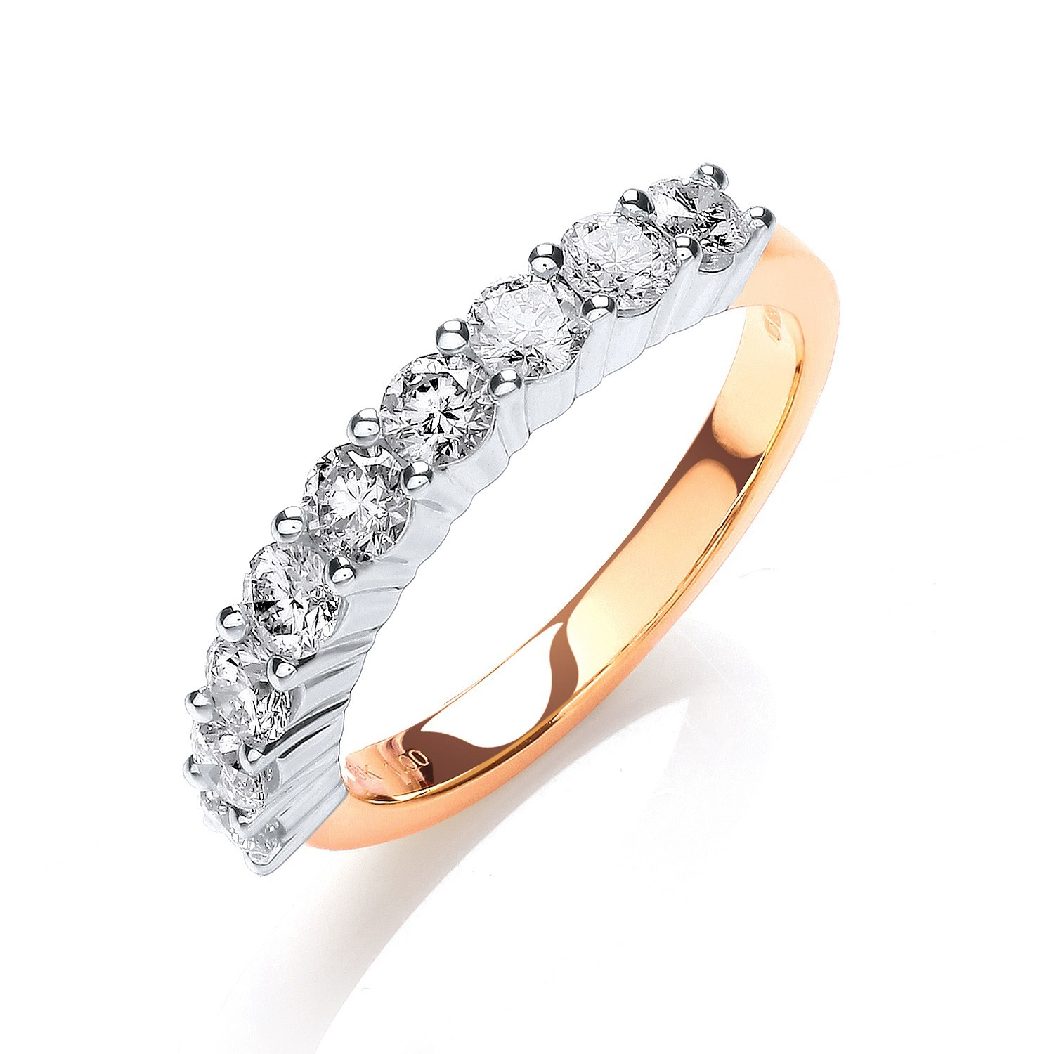 18ct Yellow Gold 1.00ctw Diamond Half Eternity Ring