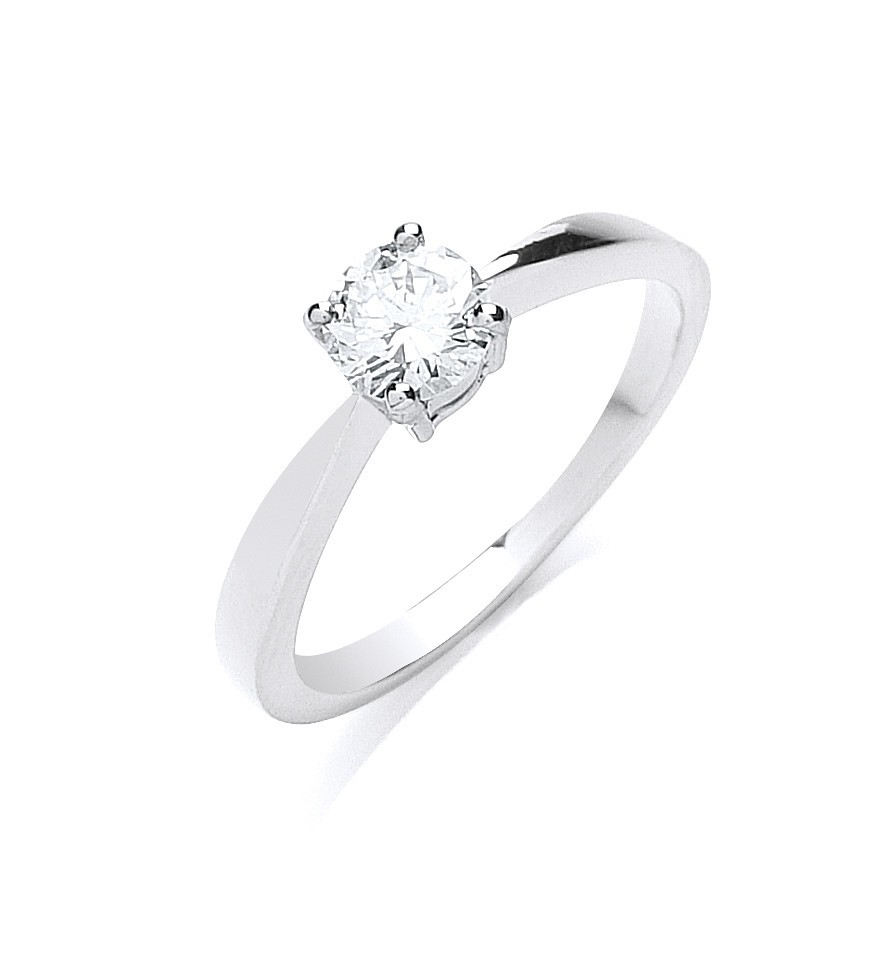 Platinum 0.50ct G/H-Si Diamond Engagement Ring