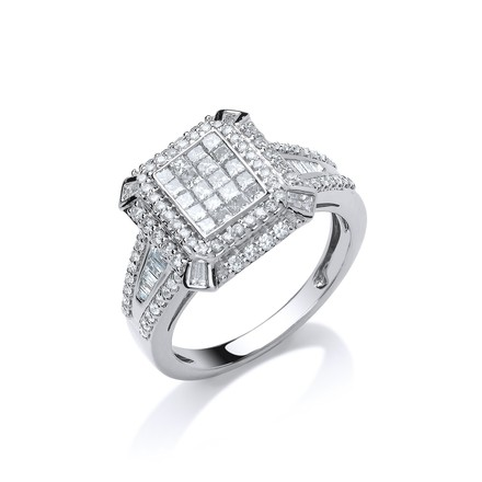 Selling: 18ct White Gold 1.00ct H-SI Diamond Fancy Ring