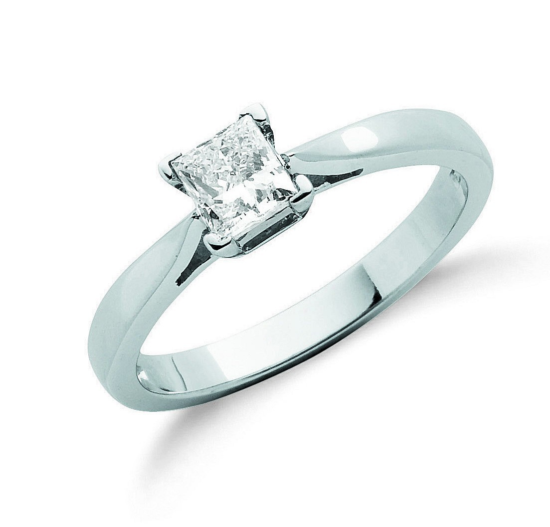 18ct White Gold 0.50ct Princess Cut Diamond Engagement Ring