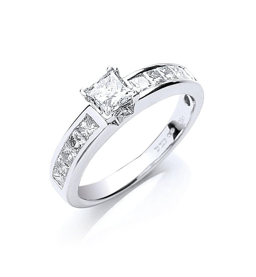 18ct White Gold 1.00ct Princess Cut Diamond Ring