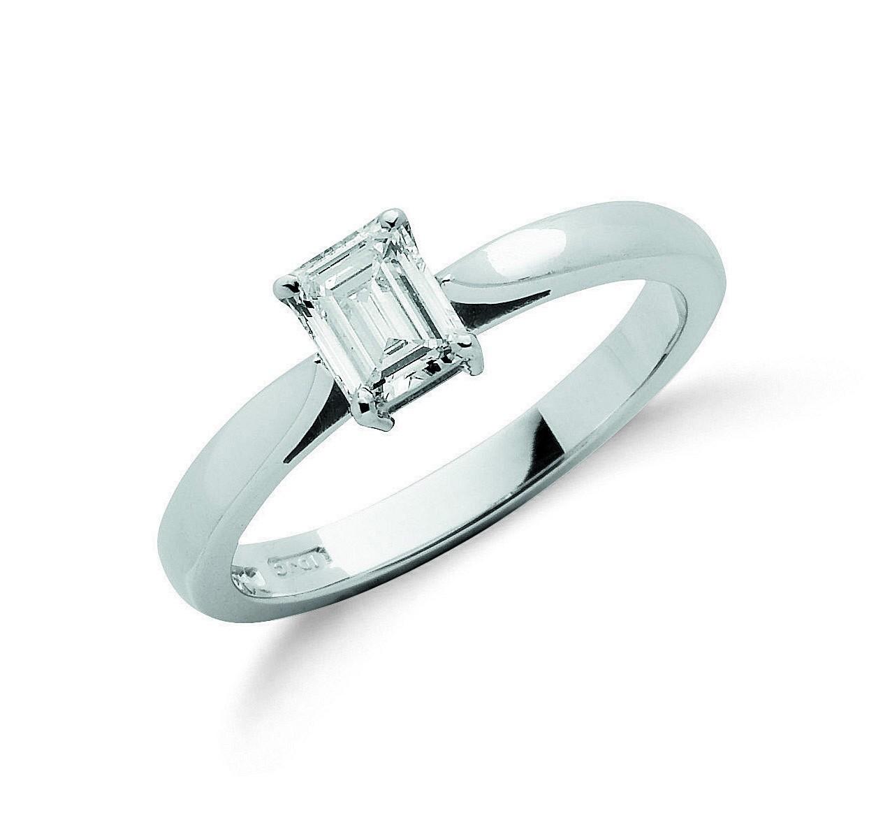18ct White Gold 0.50ct Emerald Cut Diamond Engagement Ring