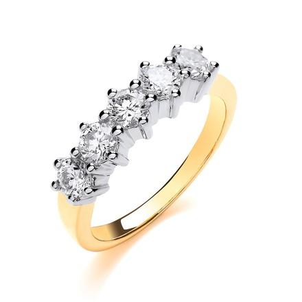 Selling: 18ct Yellow Gold 1.00ctw 5 Stone Diamond Eternity Ring