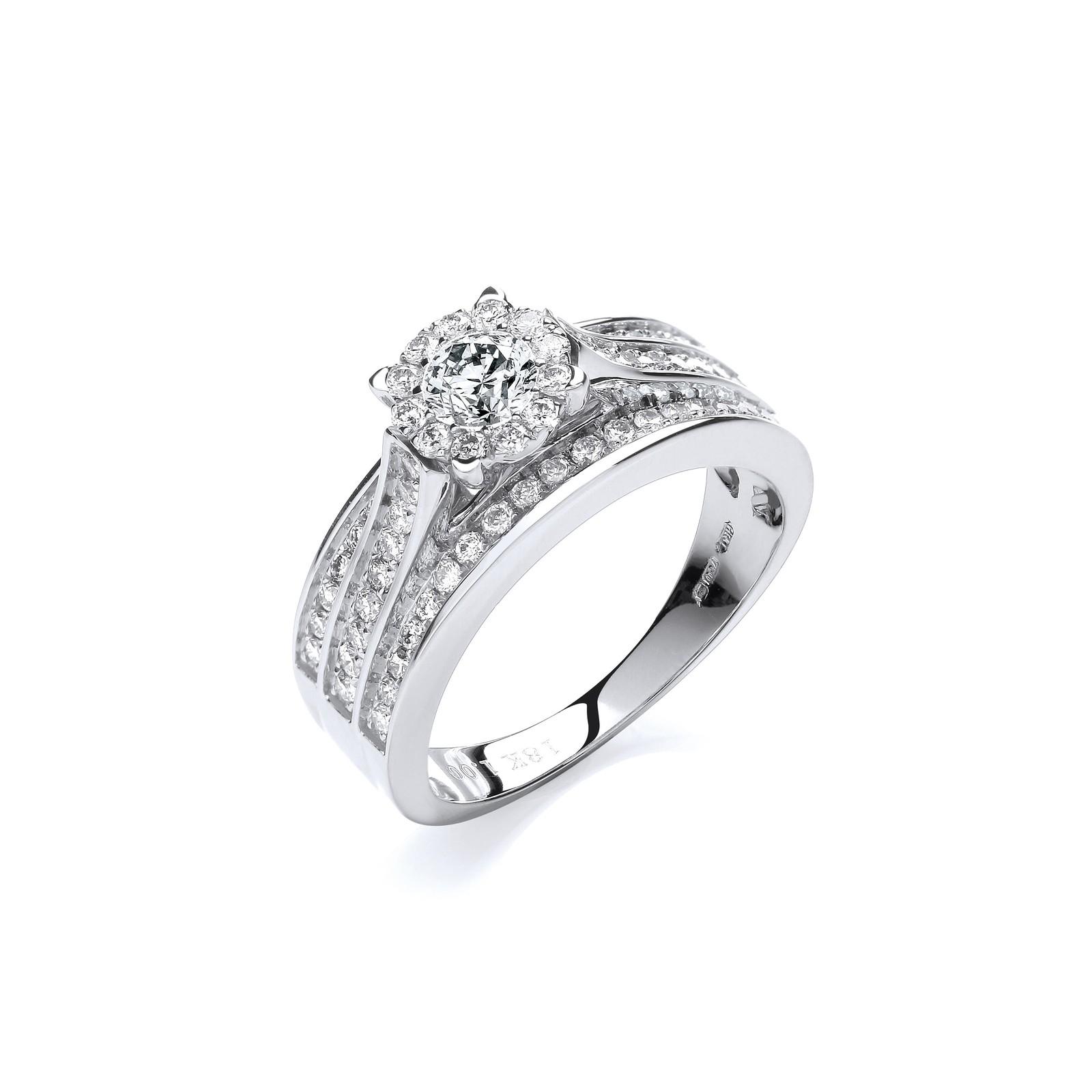 18ct White Gold 1.00ct Diamond Dress Ring