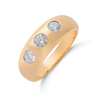 Selling: 9ct Y/G  1.00ct Gents 3 Stone Diamond Band