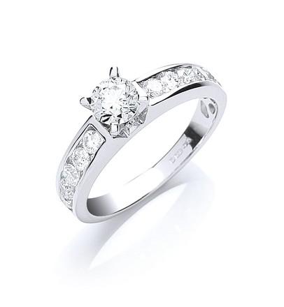 Selling: 18ct White Gold 1.00ct Brilliant Cut Centre Diamond Ring