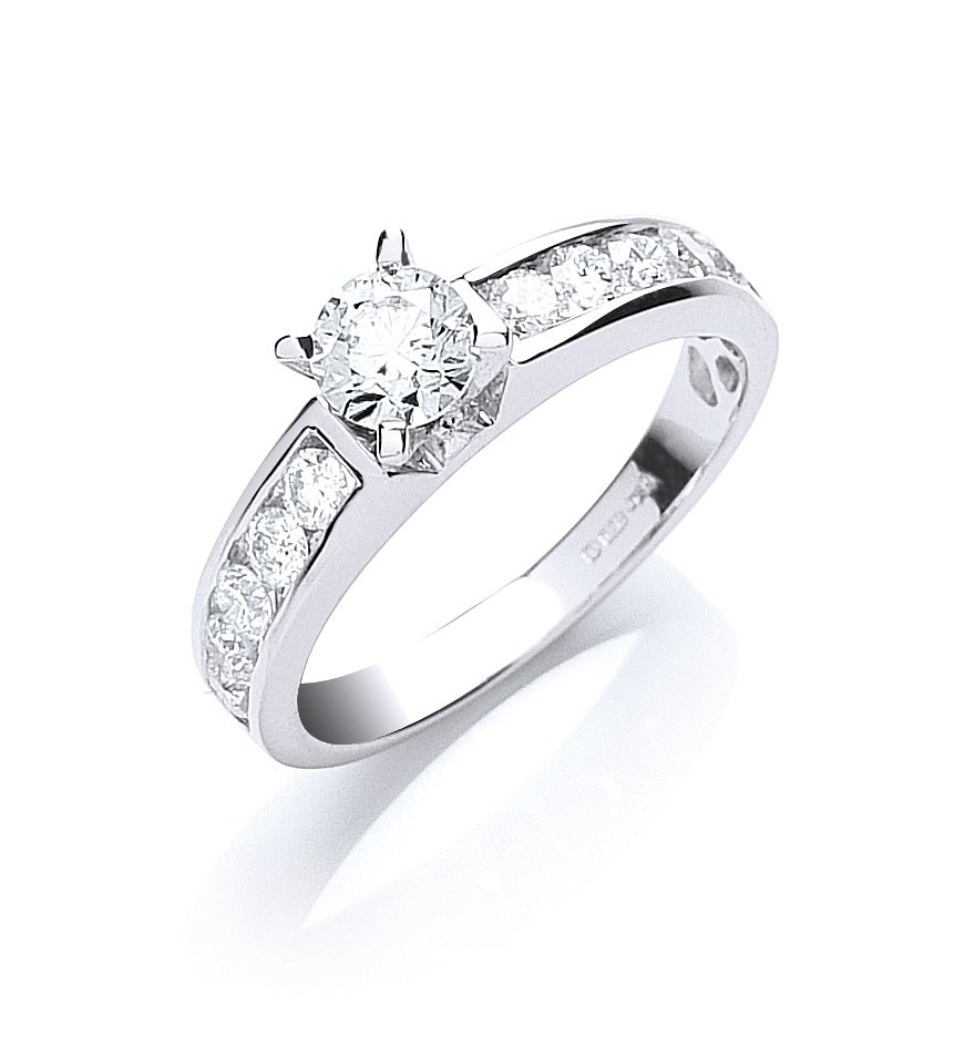 18ct White Gold 1.00ct Brilliant Cut Centre Diamond Ring