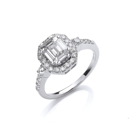 Selling: 18ct White Gold 1.00ct G-VS Fancy Dress Ring
