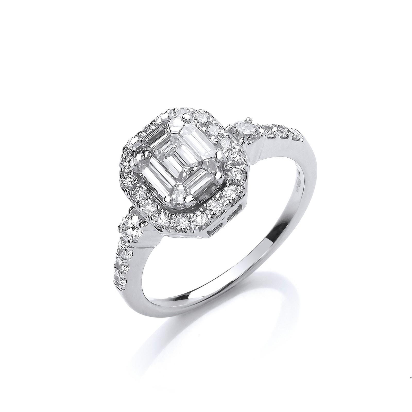 18ct White Gold 1.00ct G-VS Fancy Dress Ring