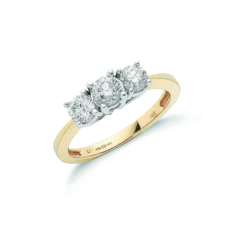 18ct Yellow Gold 1.00ctw Diamond Trilogy Ring