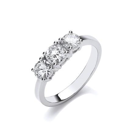 Selling: 18ct White Gold 1.00ct Diamond Trilogy Ring