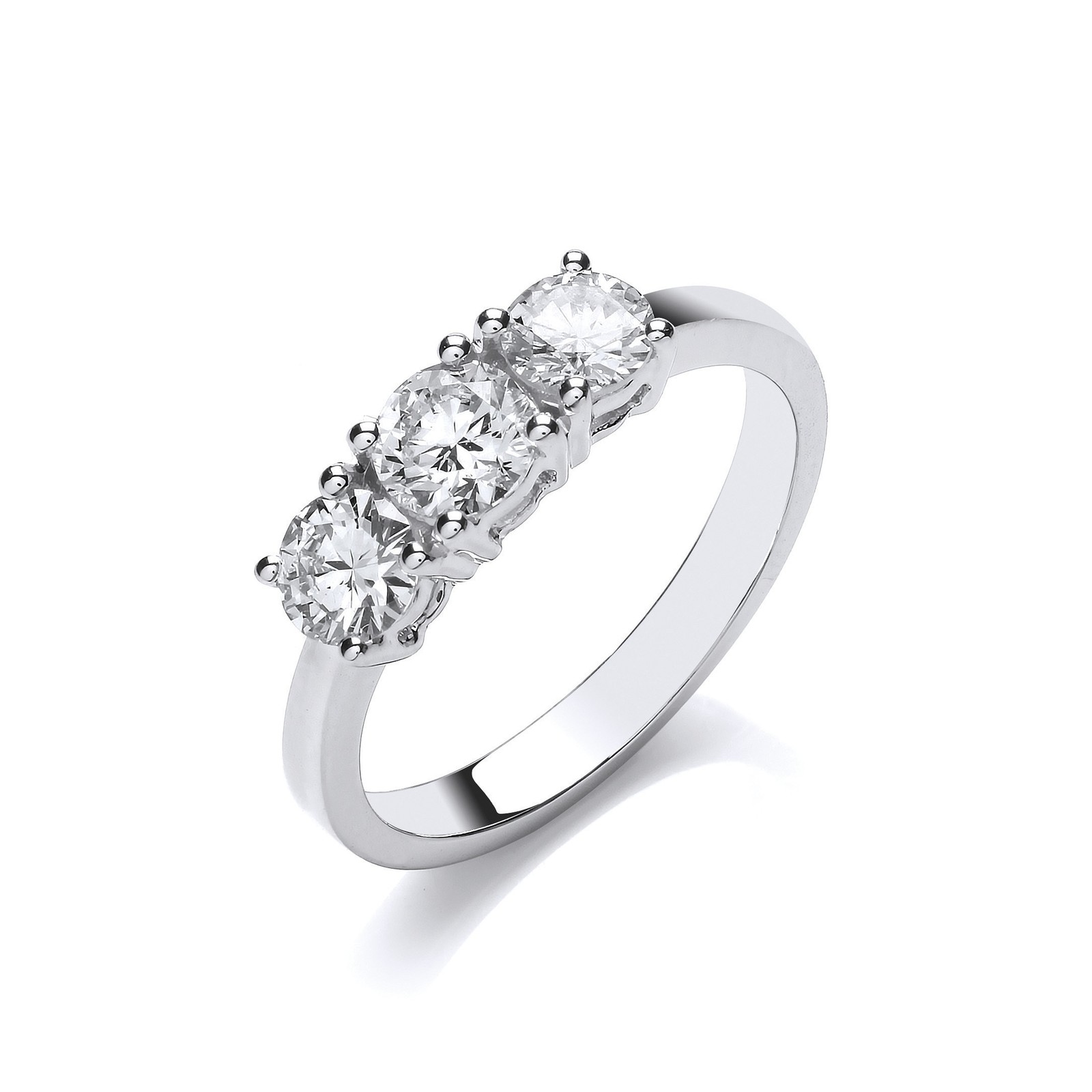 18ct White Gold 1.00ct Diamond Trilogy Ring