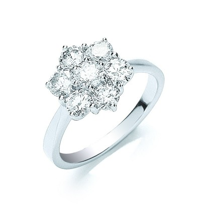 Selling: 18ct White Gold 7 Stones D.1.50ctw Cluster Diamond Ring