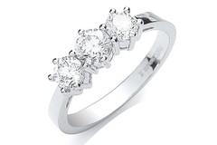 Platinum 1.00ct G/H-Vs Brilliant Cut Diamond Trilogy Ring