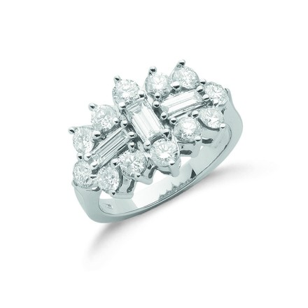 18ct White Gold D.2.00ctw Diamond Boat/Cluster Ring