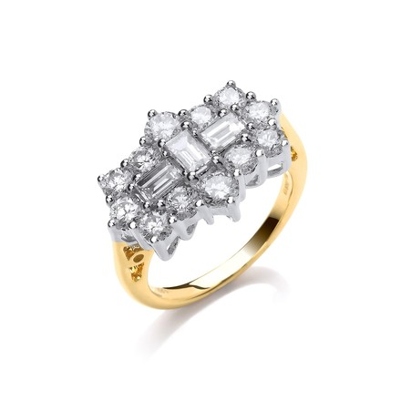 Selling: 18ct Yellow Gold 2.00ctw Diamond Boat/Cluster Ring