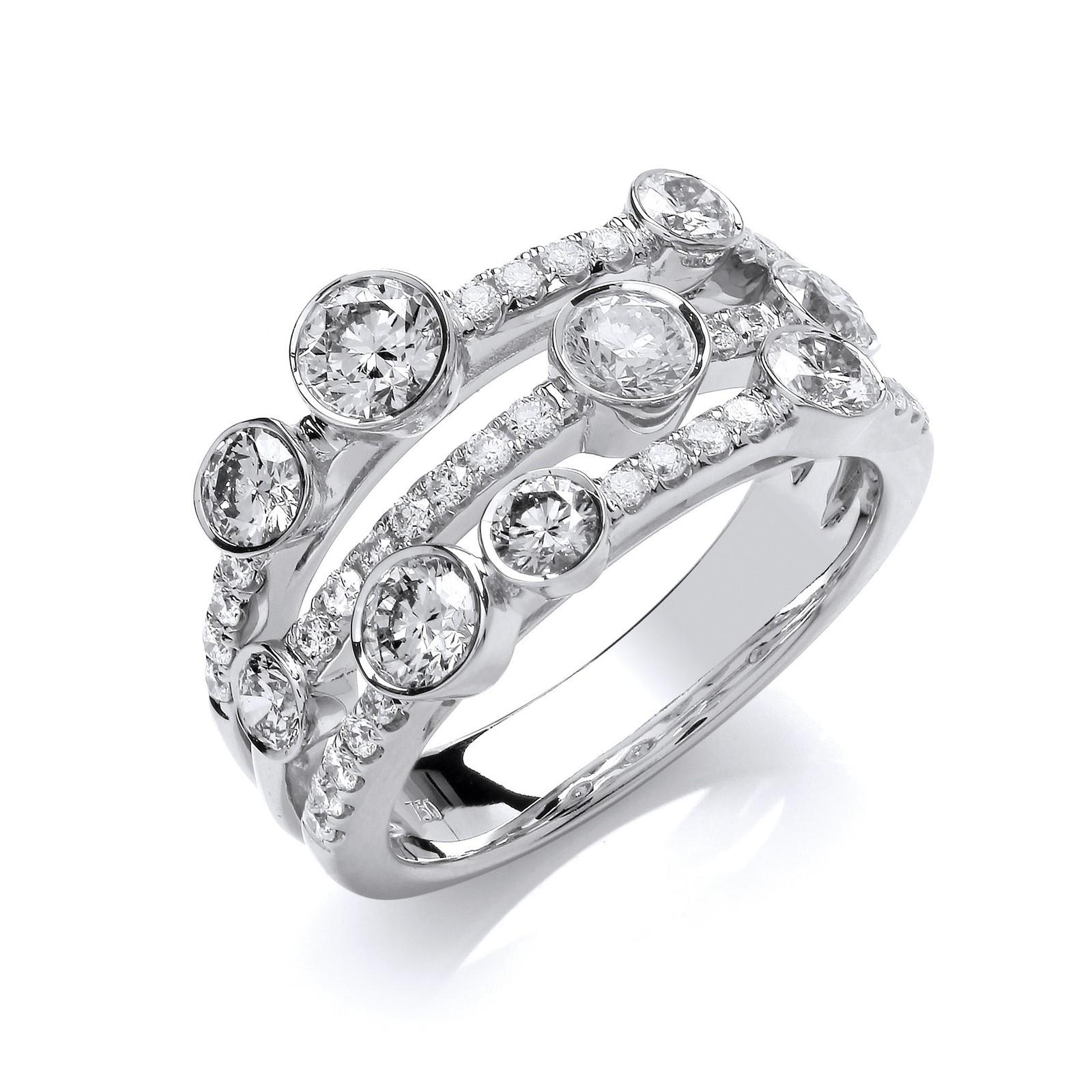 18ct White Gold 1.60ct GH-SI Diamond Dress Ring