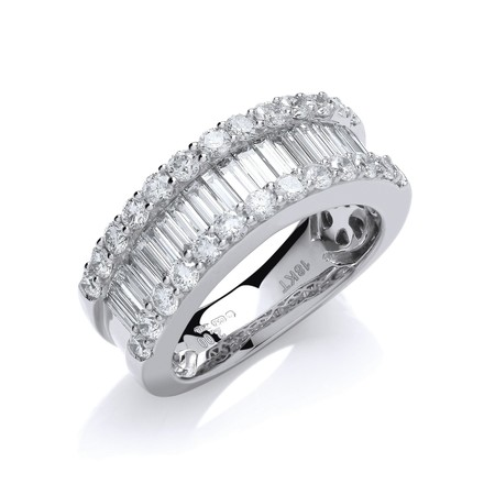 Selling: 18ct White  Gold 2.00ct Baguette & Brilliant Diamond Ring