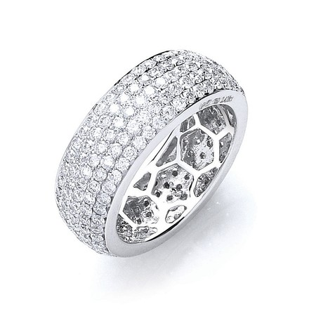 18ct White Gold 2.40ct Pave Set Full Eternity Ring