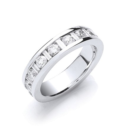 Selling: 18ct White Gold 2.00ct Brilliant & Baguette Full Eternity Ring