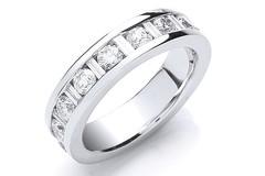 18ct White Gold 2.00ct Brilliant & Baguette Full Eternity Ring