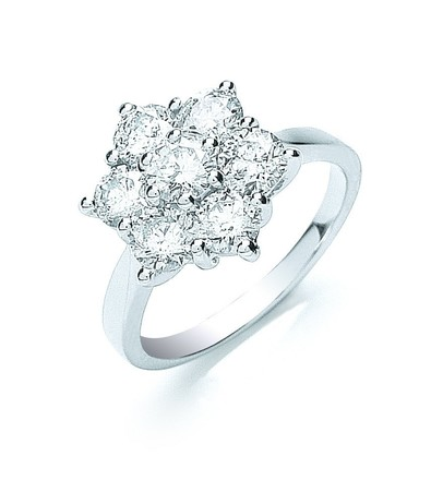 18ct White Gold 7 Stones D.2.0ctw Cluster Diamond Ring