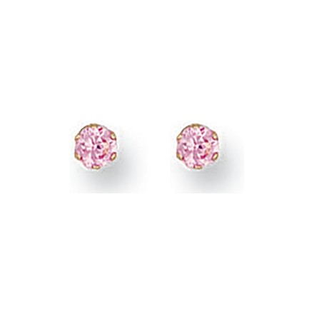 Selling: 9ct Y/G 3mm Claw Set Pink Cz Studs