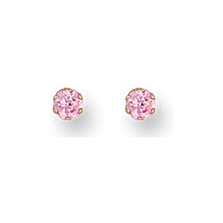 9ct Y/G 3mm Claw Set Pink Cz Studs