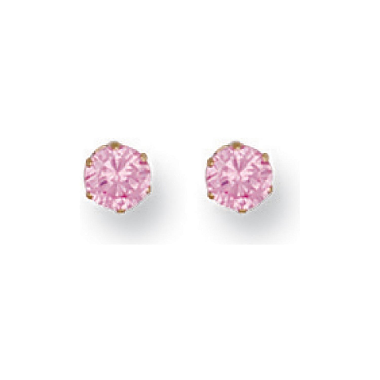 9ct Y/G 4mm Claw Set Pink Cz Studs