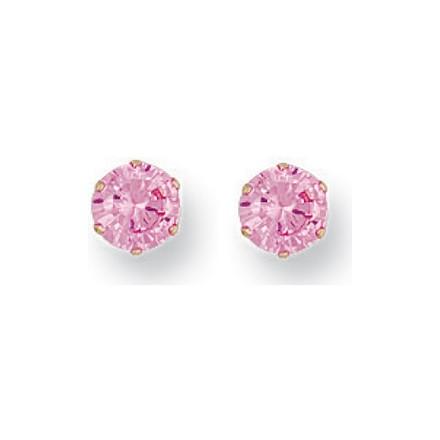Y/G 5mm Claw Set Pink Cz Studs