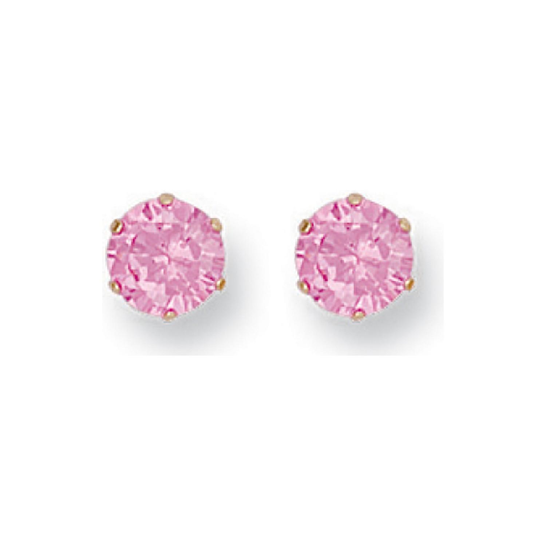 Y/G 6mm Claw Set Pink Cz Studs