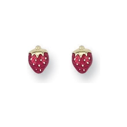 Y/G Enamelled Strawberry Studs
