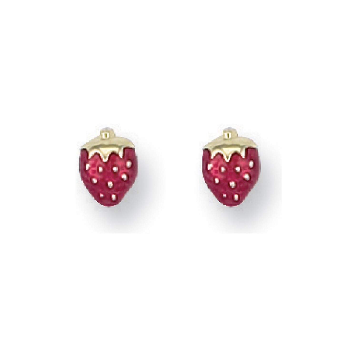 Y/G Enamelled Strawberry Studs