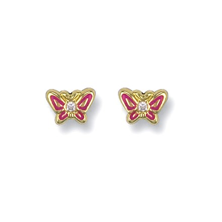 Selling: 9ct Y/G Enamelled Pink Butterfly Studs