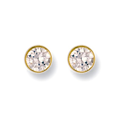 Selling: 9ct Y/G 6mm Rubover Set Cz Studs