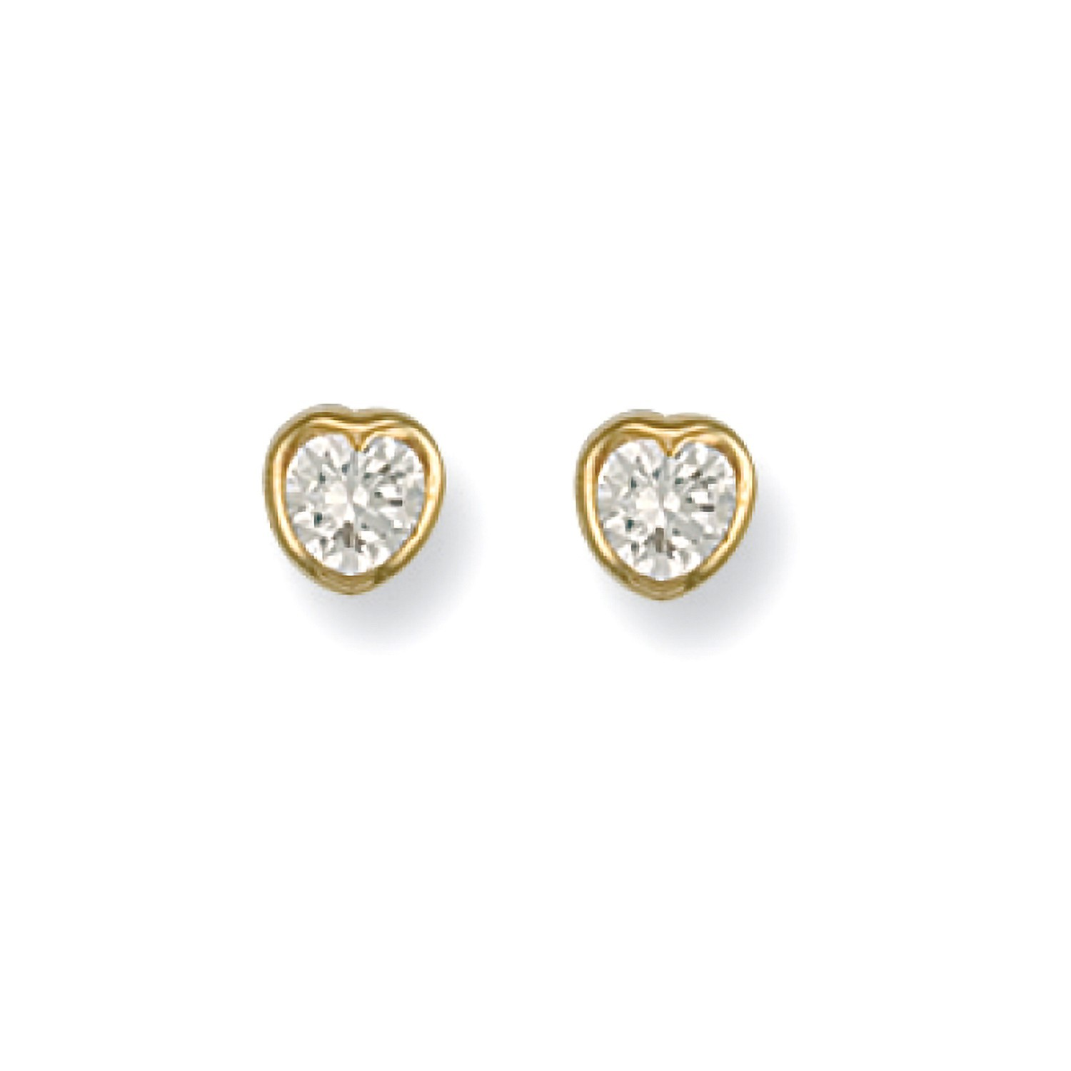 9ct Y/G Rubover Set Heart Shaped Cz Studs