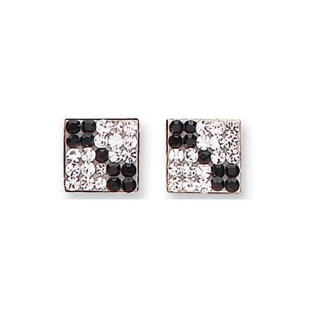 Selling: Y/G Black & White Cz Square Studs