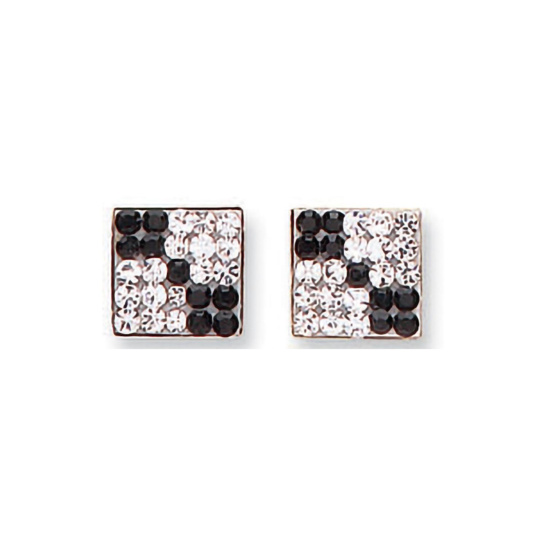Y/G Black & White Cz Square Studs