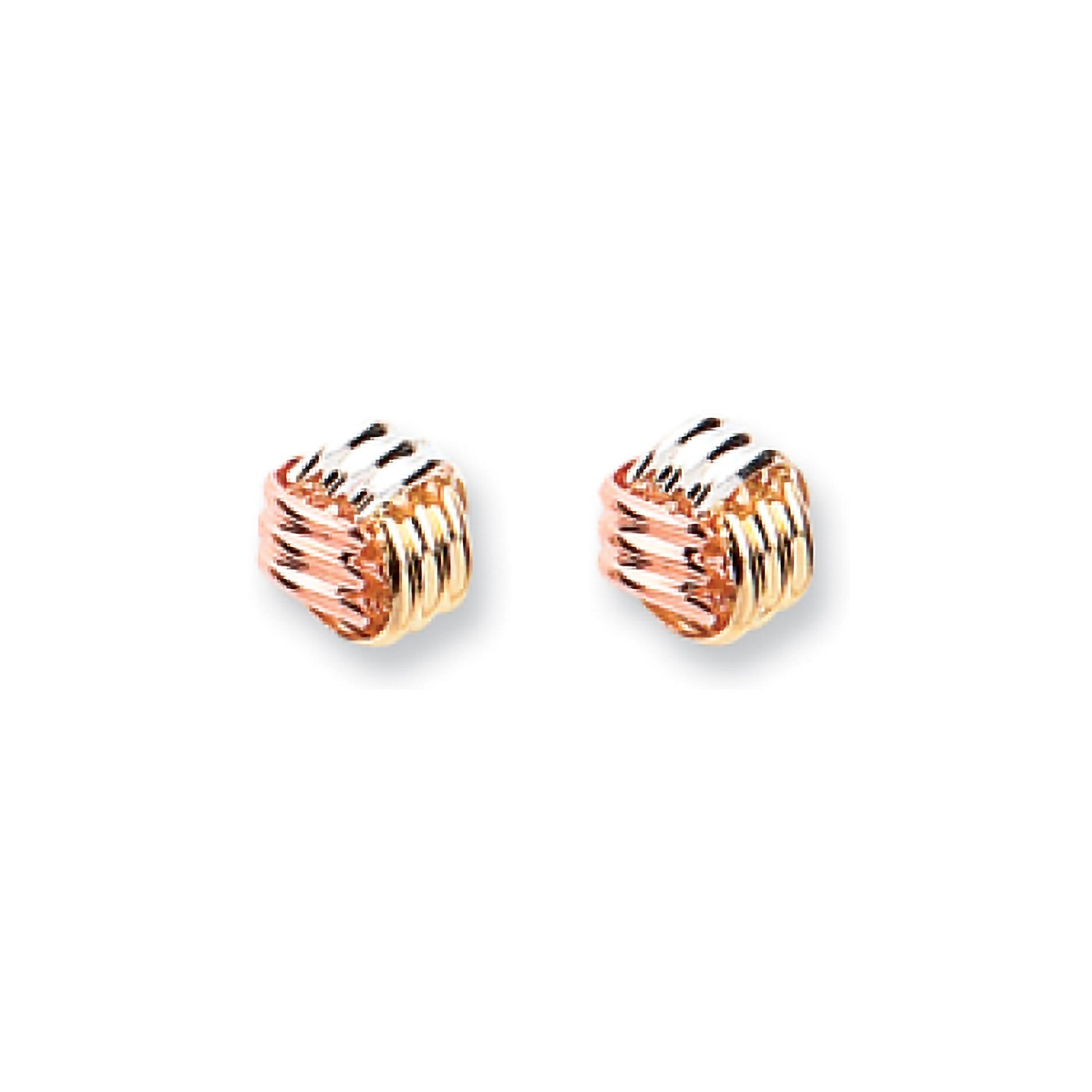 9ct Y W & R/G Fancy Knot Studs