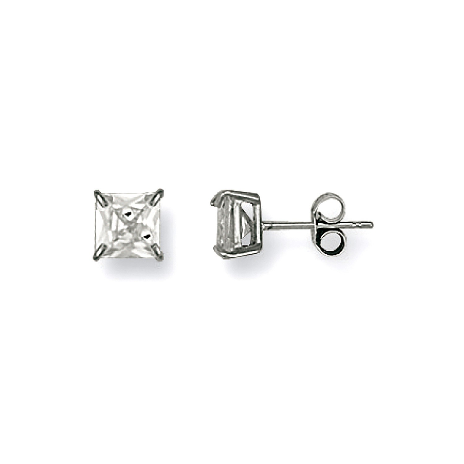 W/G 6mm Claw Set Princess Cut Cz Studs