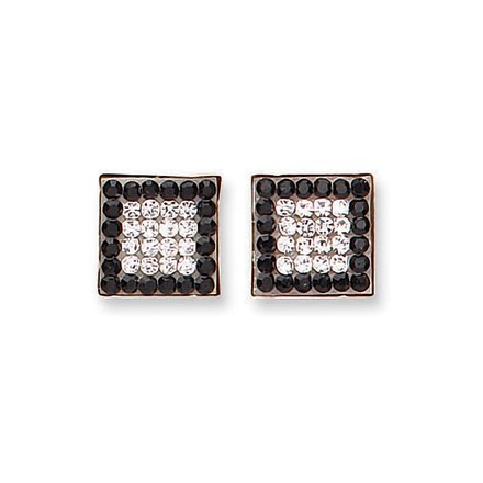 Selling: 9ct Y/G Black & White Cz Square Studs