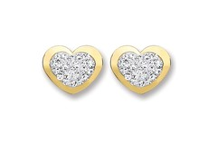 9ct Gold Heart Shape with Crsystals Stud