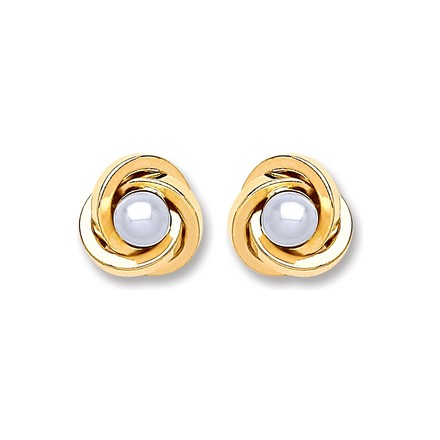 Selling: 9ct Gold Simulated Pearl Knot Stud