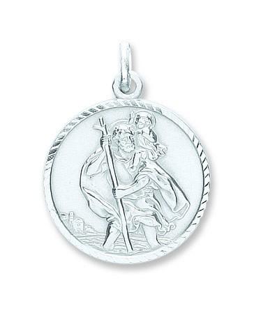 Silver St Christopher D/C, Plain Back Pendant