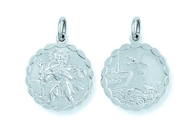 Selling: Silver Double Sided Fancy St Christopher Pendant