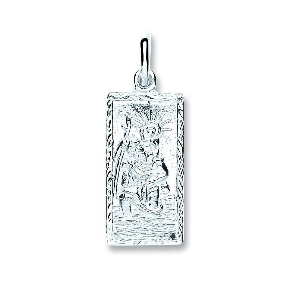 Silver Rectangle St Christopher, Plain Back Pendant